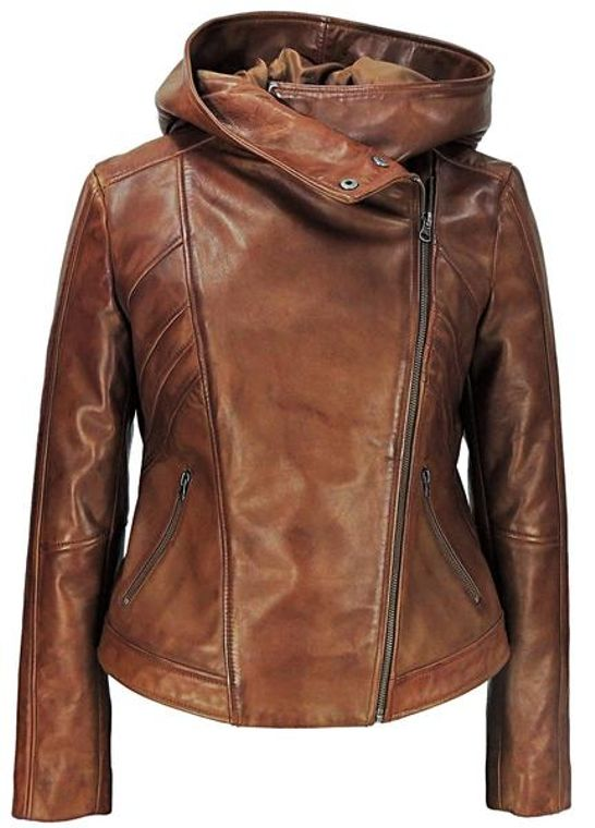 Sasha High Fashion Womens Hooded Leather Jacket