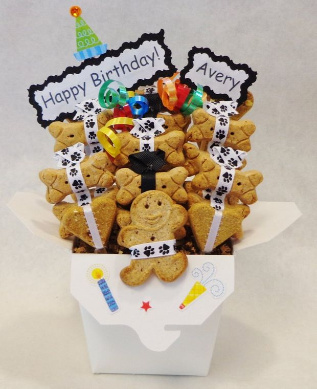 Birthday Dog treat Gift Basket