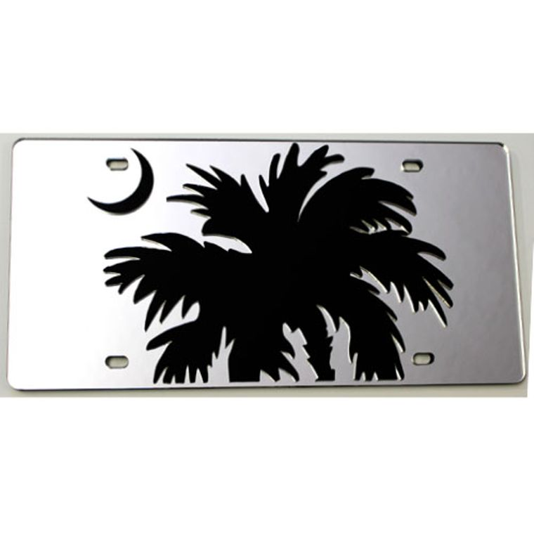 License Plate South Carolina Large Palmetto Tree Mirrored Acrylic Car Tag