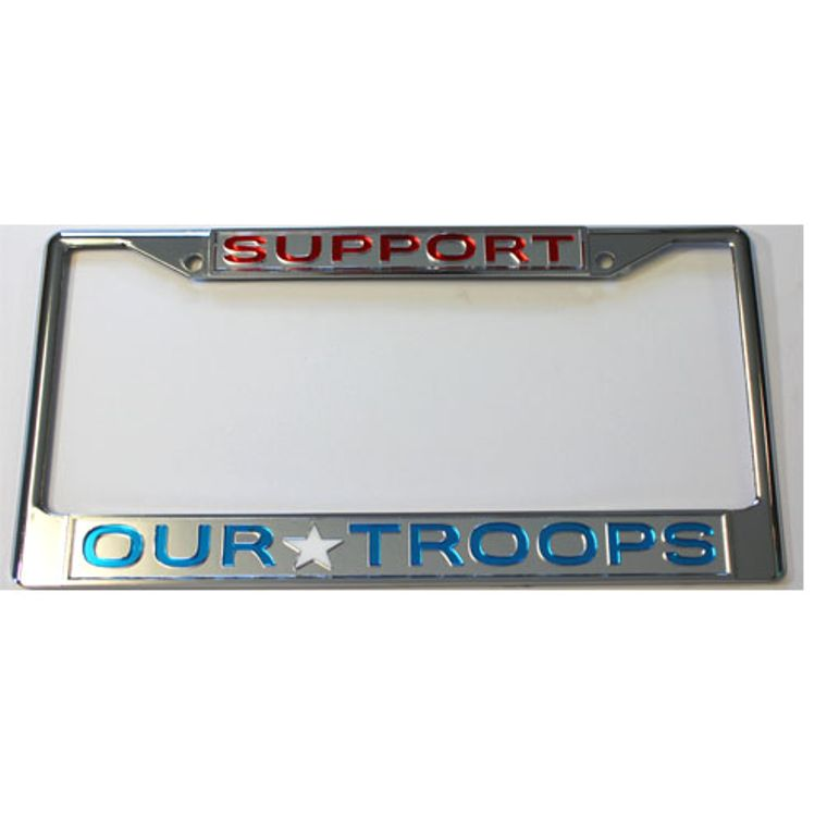 License Plate Frame Support Our Troops Chrome  w Mirrored Inlaid Acrylic Car Tag