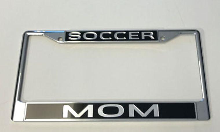 License Plate Frame Soccer Mom Chrome w Mirrored Inlaid Acrylic Car Tag