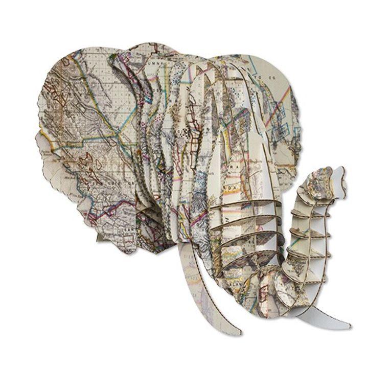 Cardboard Vintage Map Print Small Animal Heads