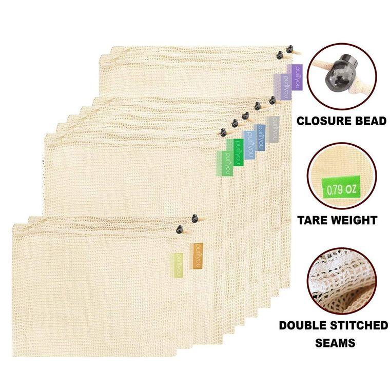 purifyou Premium Reusable Mesh/Produce Bags, Set of 9 | Raw, Organic, Unbleached Cotton | Double-Sti