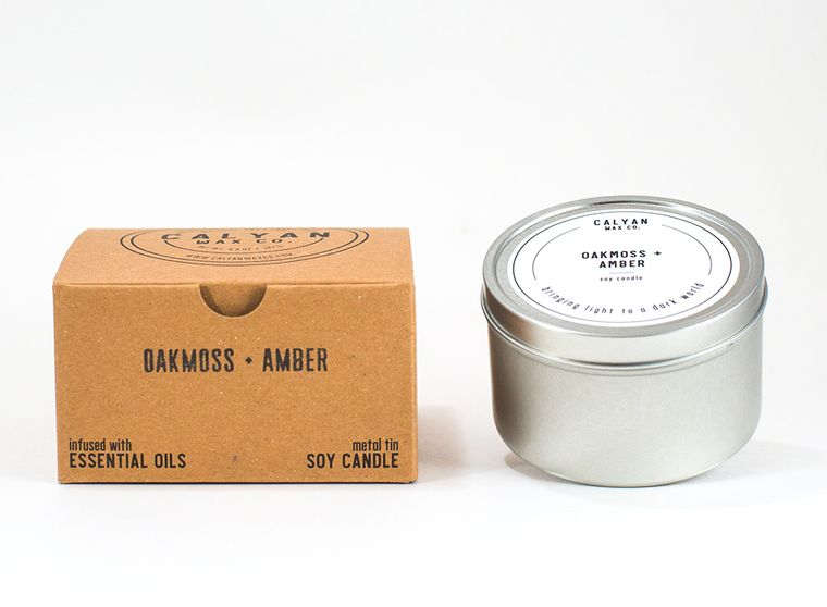 Metal Tin Soy Candle - Oakmoss / Amber