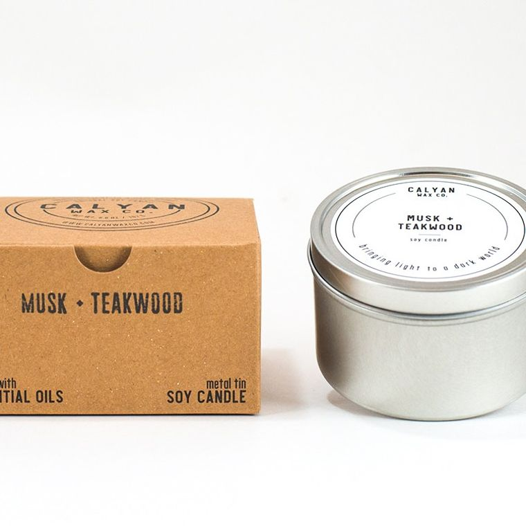 Metal Tin Soy Candle - Musk / Teakwood