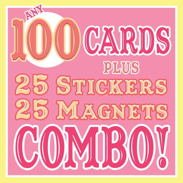 ANY 100 CARDS Plus 25 Stickers/25 Magnets Discount COMBO