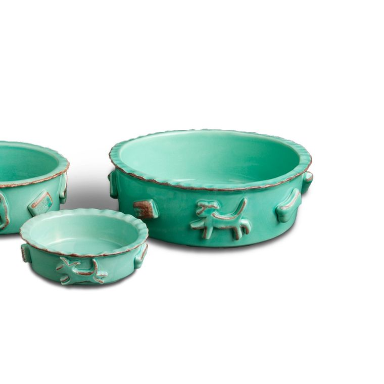 Dog Food/Water Bowl - Large Aqua/Green