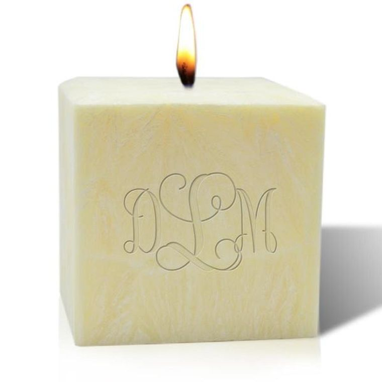 "Eco-Luxury 4"" Palm Wax Candle: Monogrammed"