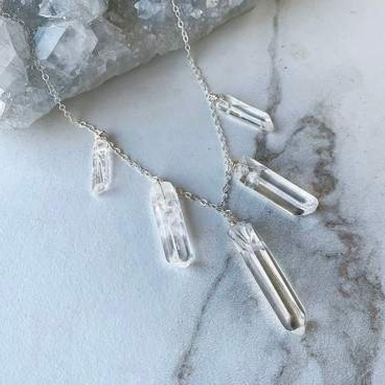 Crystal Quartz Bib Necklace in Sterlng Silver