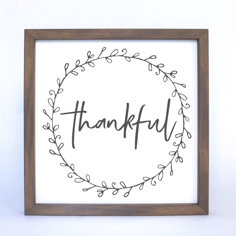 Thankful Wreath Framed Sign