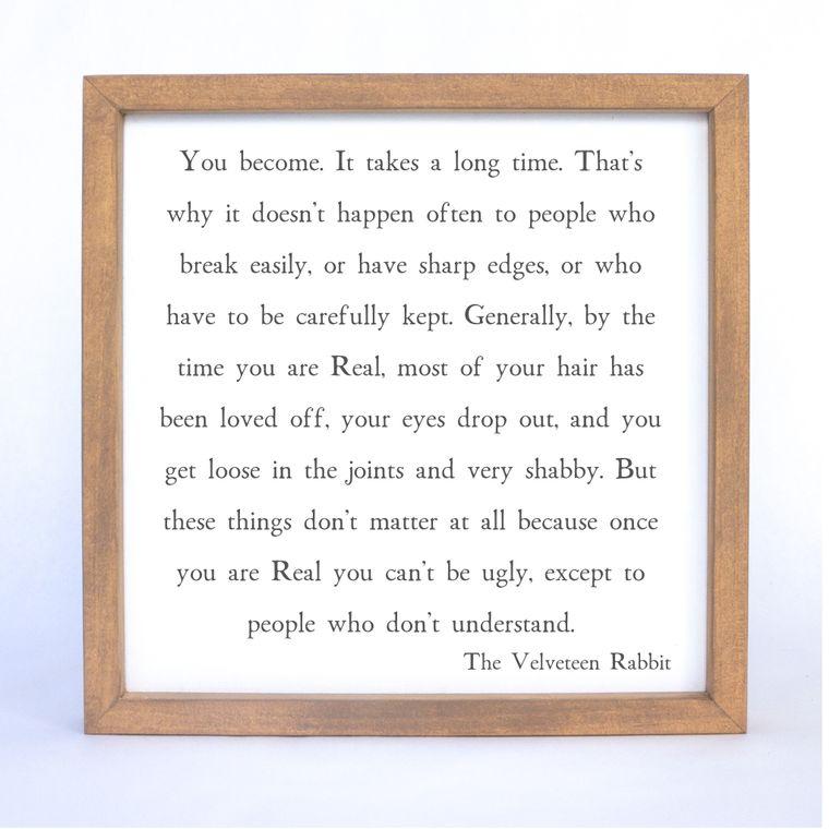 Velveteen Rabbit Quote Framed Sign