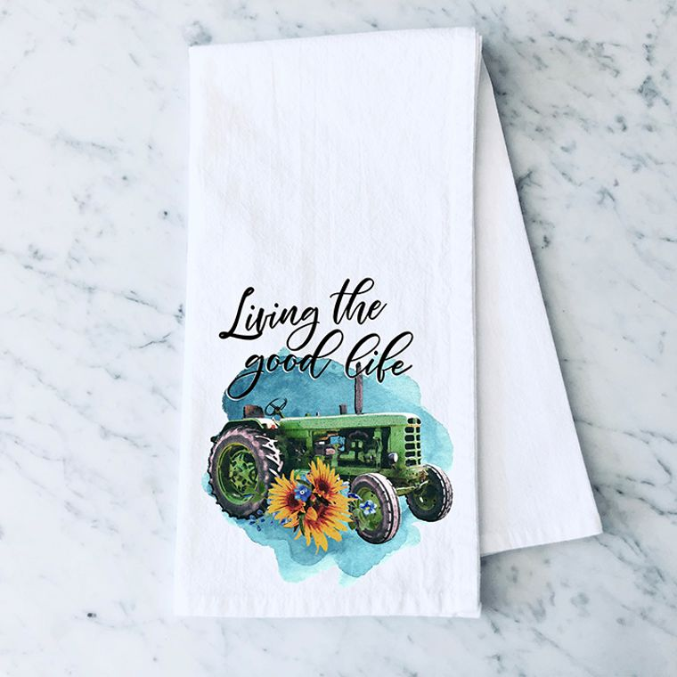 Living the Good Life Tractor Cotton Flour Sack Towel