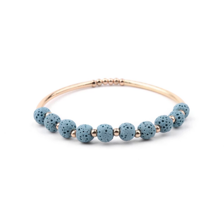 Lava Stone Essential Oil Bracelet - Blue Lava Stone and Gold
